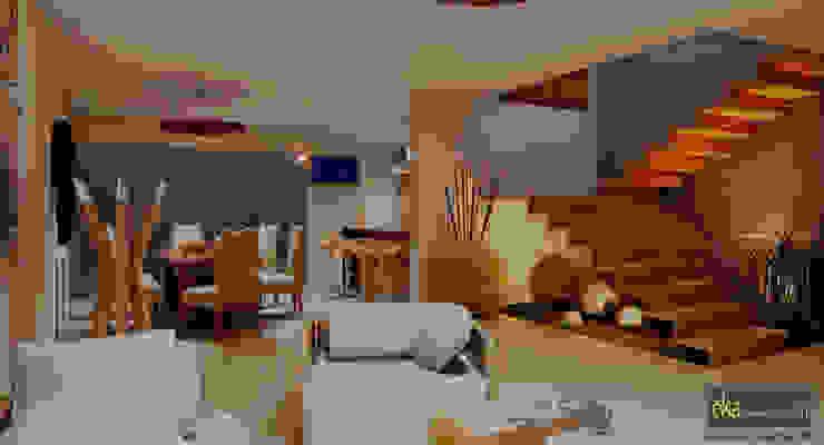VISTA INTERIOR Salones modernos de EKA ARQUITECTURA Moderno