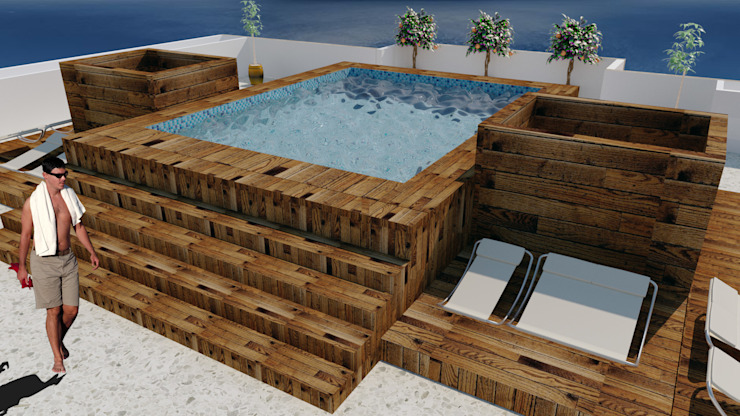 Modern pool by M4X Modern Wood Wood effect
