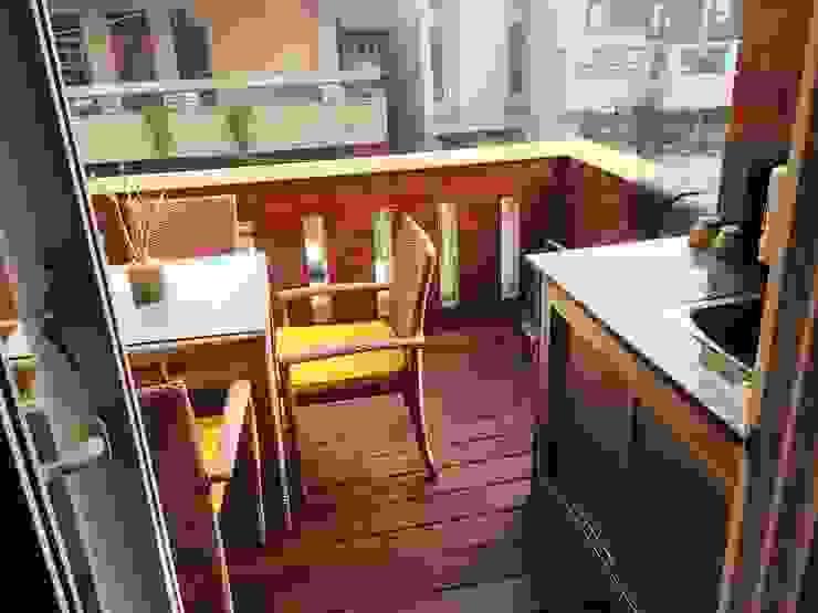Kitchen Design Rustic style balcony, veranda & terrace by Akaar architects Rustic