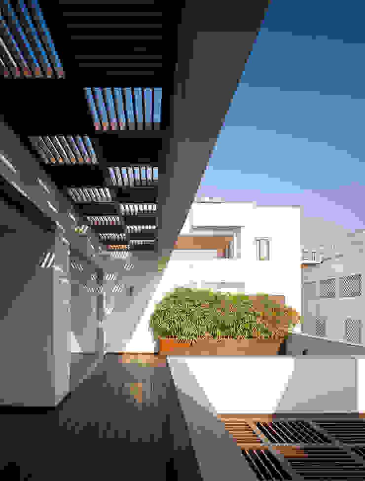 Traveler's House Modern balcony, veranda & terrace by Morphogenesis Modern Wood Wood effect