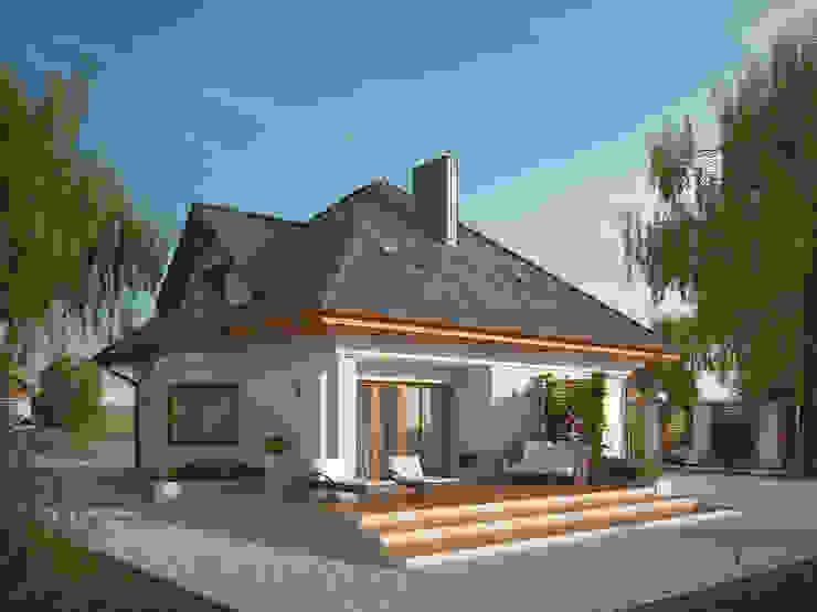 Wizualizacja projektu domu Wilga 4 Nowoczesne domy od Biuro Projektów MTM Styl - domywstylu.pl Nowoczesny