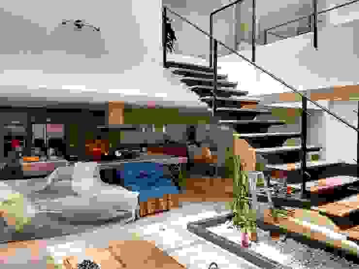 Vivienda unifamiliar-privada Salas modernas de Le.tengo Arquitectos Moderno