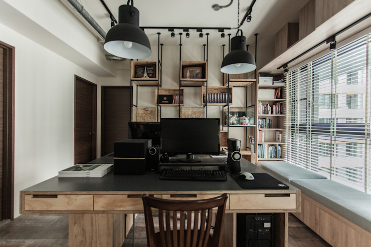 Industrial style study/office by 丰墨設計 | Formo design studio Industrial