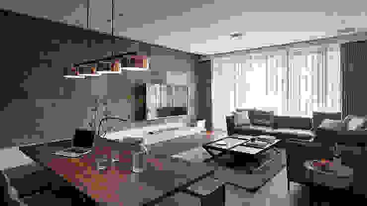 山.嵐 现代客厅設計點子、靈感 & 圖片 根據 木皆空間設計 現代風