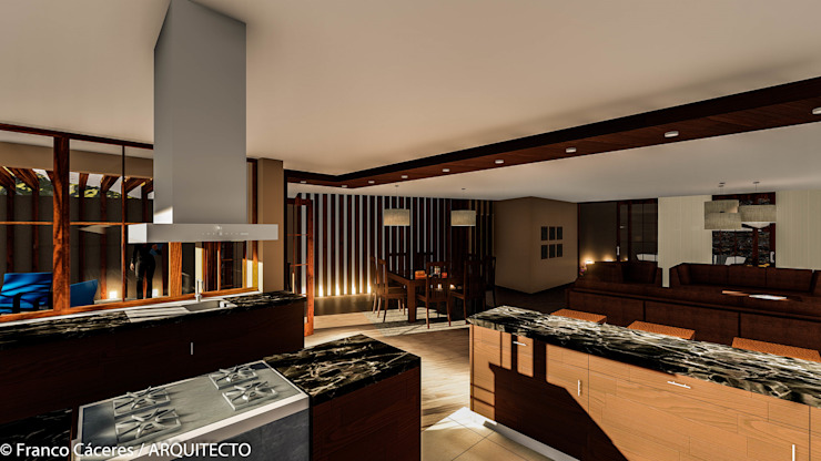 CASA JONES - PROYECTO Cocinas de estilo moderno de FRANCO CACERES / Arquitectos & Asociados Moderno