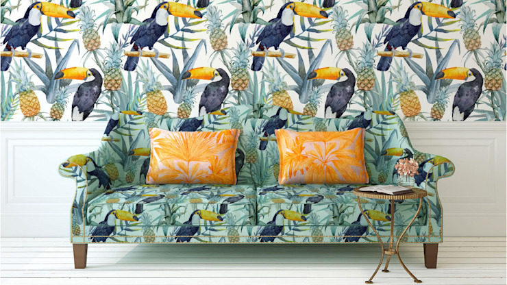 Floral Fun: colonial  by Blake Matthew Design, Colonial Textile Amber/Gold