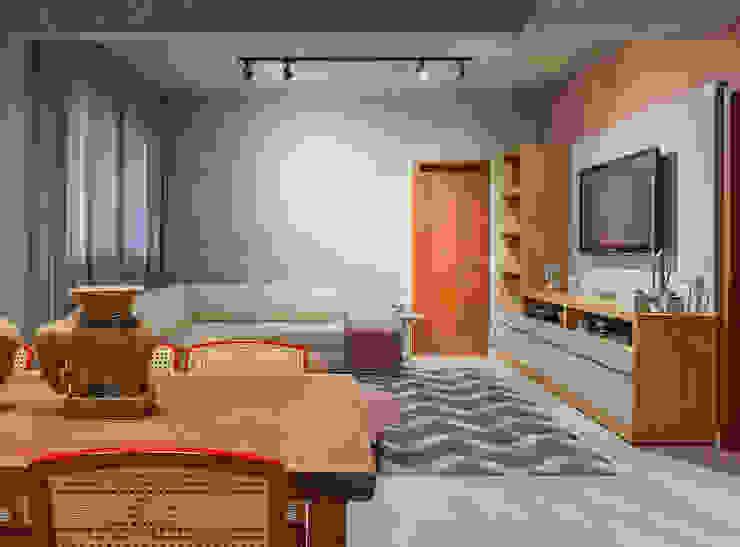 Estar com tv Salas de estar industriais por Jacqueline Ortega Design de Ambientes Industrial