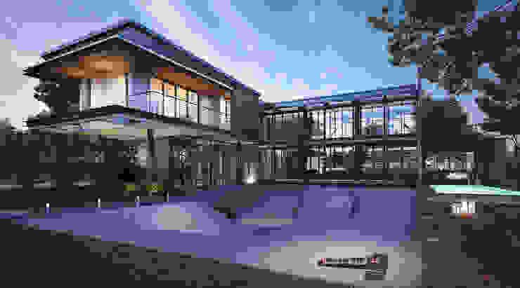 บ้านขนาด1ครอบครัวเล็กสำหรับคู่แต่งงานใหม่ สไตล์ลอฟท์และโมเดิร์น ที่จ.นครศรีธรรมราช Autchawin Architect Co., Ltd. บ้านและที่อยู่อาศัย เหล็ก Grey
