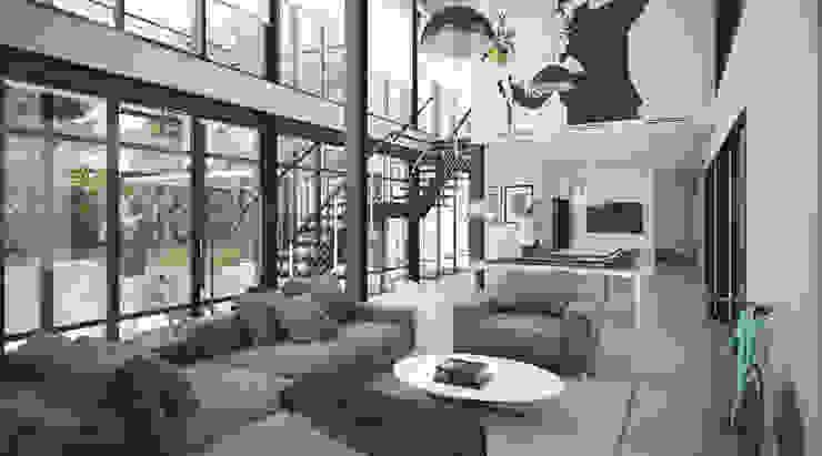 บ้านขนาด1ครอบครัวเล็กสำหรับคู่แต่งงานใหม่ สไตล์ลอฟท์และโมเดิร์น ที่จ.นครศรีธรรมราช Autchawin Architect Co., Ltd. ห้องนั่งเล่นโต๊ะกลางและโซฟา เหล็ก Grey