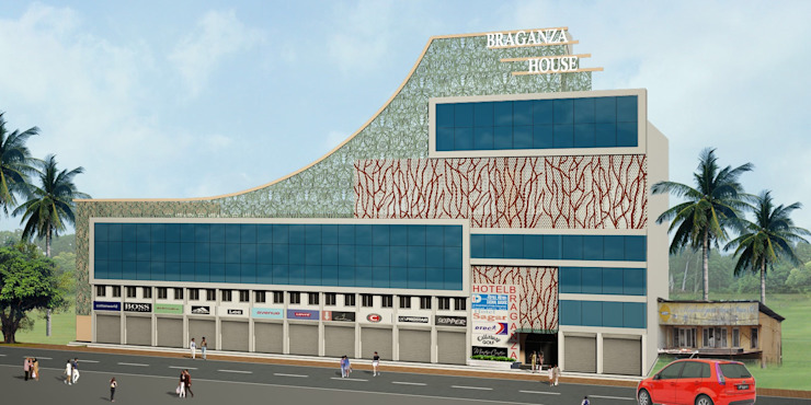 Facade Design for Braganza House, Mapusa, Goa. Modern houses by SILVERFERNS DESIGN INNOVATION Modern