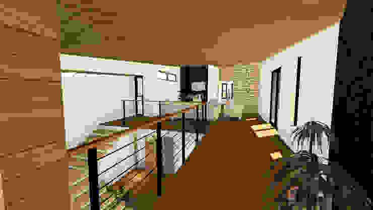 VIVIENDA UNIFAMILIAR DE NIEBLA – VALDIVIA Pasillos, vestíbulos y escaleras modernos de GerSS Arquitectos Moderno