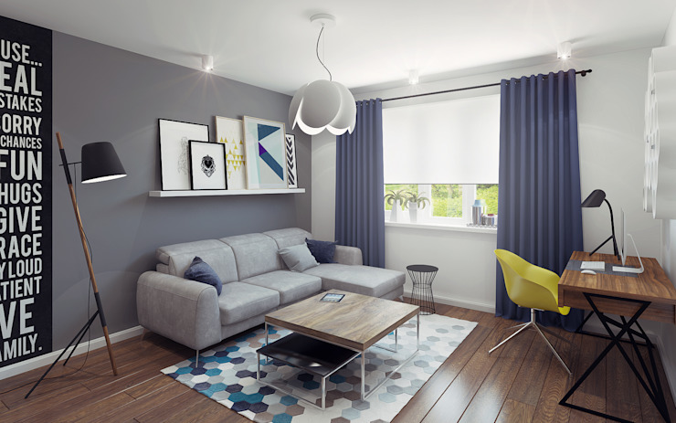 Small studio for young man in Krasnogorsk city Ksenia Konovalova Design Modern Living Room