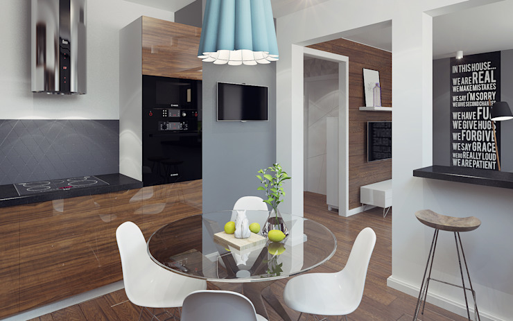 Small studio for young man in Krasnogorsk city Ksenia Konovalova Design Modern Kitchen Wood