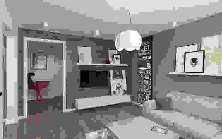Small studio for young man in Krasnogorsk city Ksenia Konovalova Design Modern Living Room Wood Grey