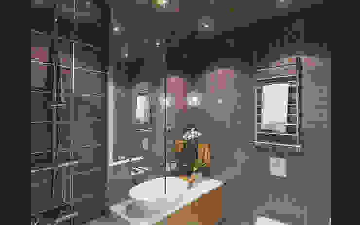 Small studio for young man in Krasnogorsk city Ksenia Konovalova Design Modern Bathroom Wood Brown