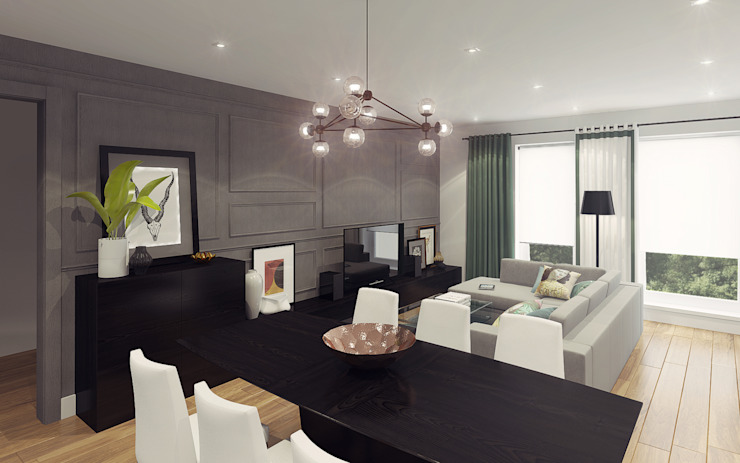Apartment in Otrada estate Ksenia Konovalova Design Modern Living Room Grey