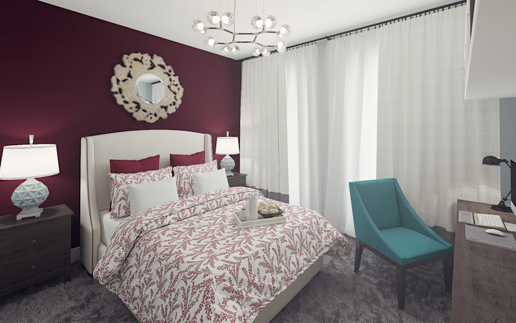 Apartment in Otrada estate Ksenia Konovalova Design Modern Bedroom Purple/Violet