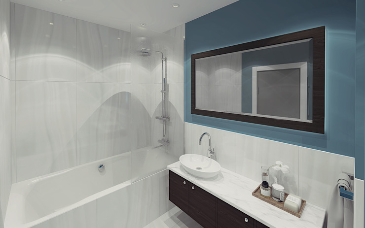 Apartment in Otrada estate Ksenia Konovalova Design Modern Bathroom Marble Blue