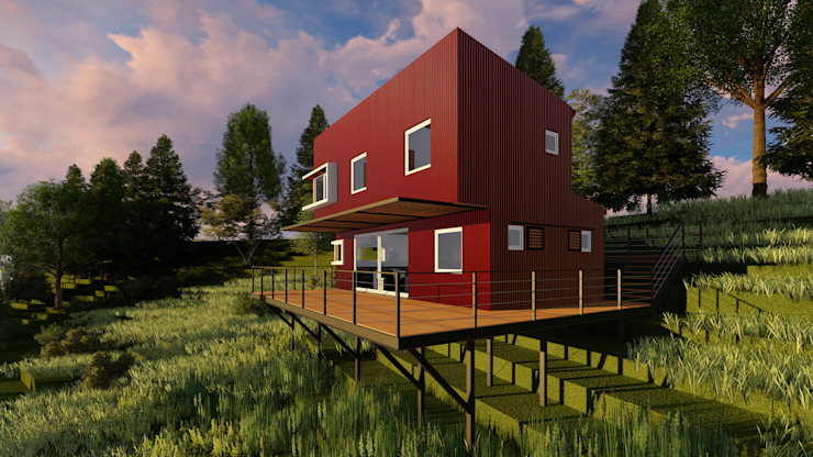 REFUGIO LR Balcones y terrazas modernos de EjeSuR Arquitectura Moderno