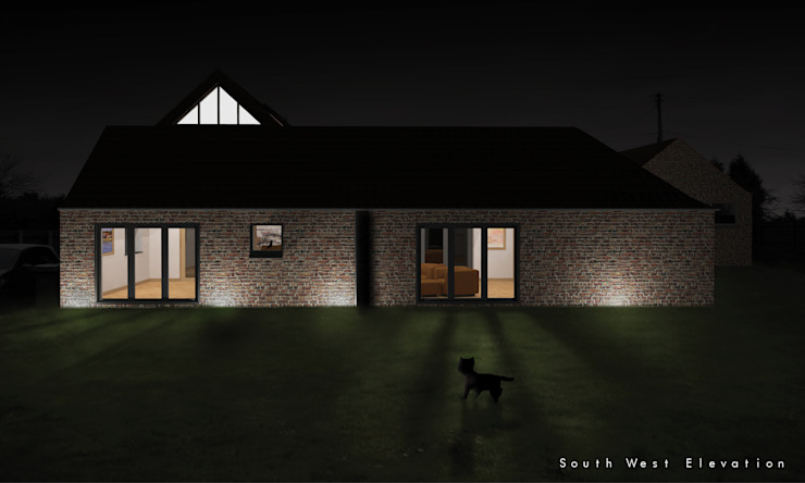 A nightime render illustrating the barn conversion from the south par Samuel Kendall Associates Limited