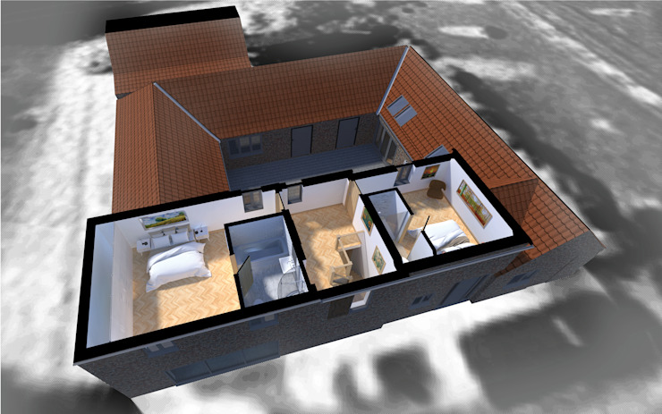The First Floor Plan illustrating its relationship with the internal courtyard and the single storey enclosing buildings par Samuel Kendall Associates Limited