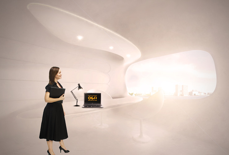 Organische werkruimte in energie-autarkisch villa, Almere Minimalistische studeerkamer van OLA architecten Minimalistisch Kunststof