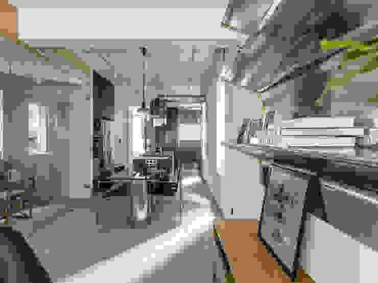 Living Room + Dining Room Modern Dining Room by 鄭士傑室內設計 Modern