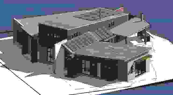 3D View Northeast Modern houses by Architects Unbound (Pty) Ltd. Modern Bricks