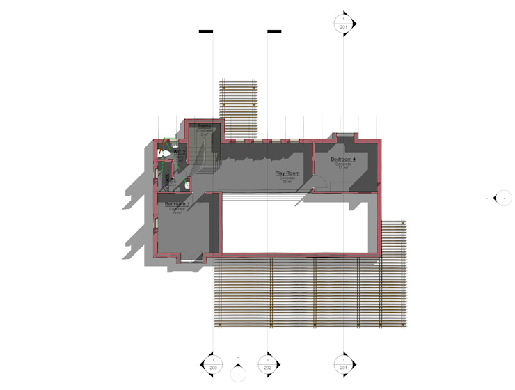 First Storey Minimalist bedroom by Architects Unbound (Pty) Ltd. Minimalist