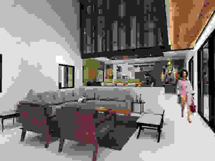 Sala de Estar Constructora e Inmobiliaria Catarsis Salas modernas Madera Beige