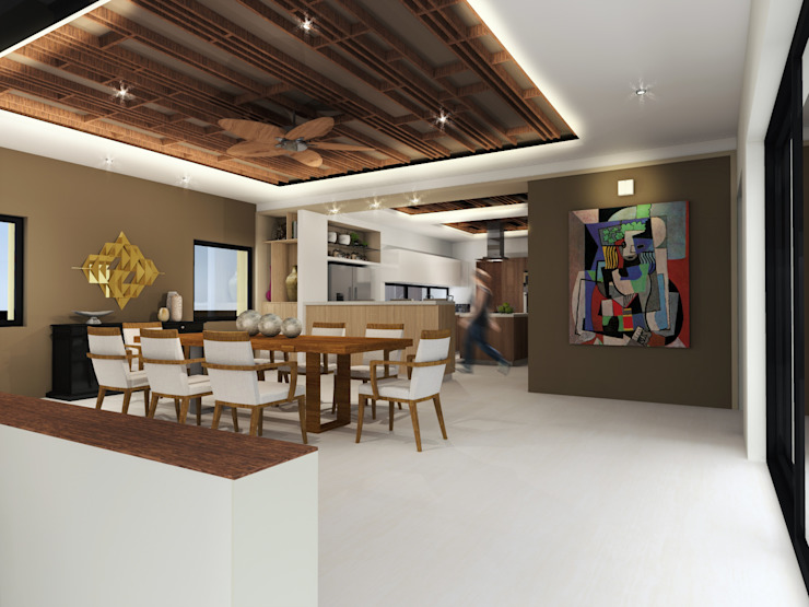 Comedor Constructora e Inmobiliaria Catarsis Comedores de estilo minimalista Madera Beige