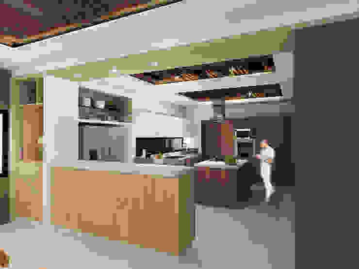 Cocina Constructora e Inmobiliaria Catarsis Cocinas de estilo minimalista Madera Beige