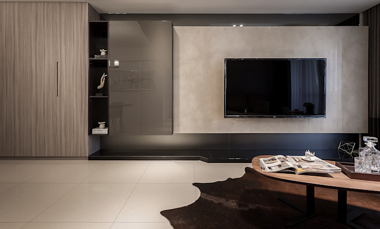 電視主牆 你你空間設計 现代客厅設計點子、靈感 & 圖片