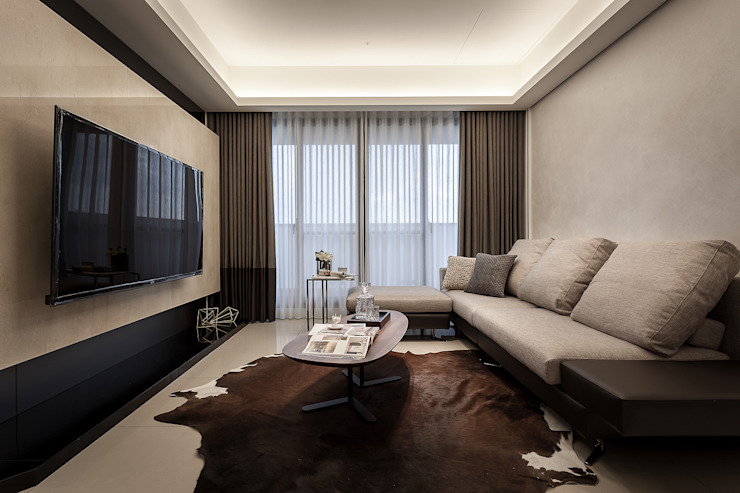 天花設計 现代客厅設計點子、靈感 & 圖片 根據 你你空間設計 現代風