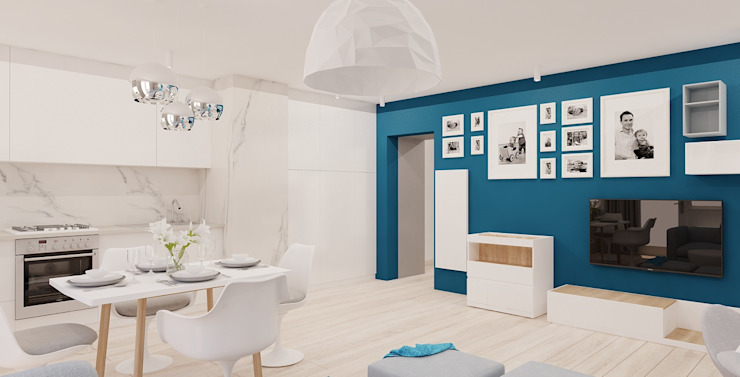 Projekt mieszkania 63m2 w Dąbrowie Górniczej Minimalistyczna jadalnia od Ale design Grzegorz Grzywacz Minimalistyczny