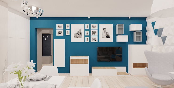 Projekt mieszkania 63m2 w Dąbrowie Górniczej Skandynawski salon od Ale design Grzegorz Grzywacz Skandynawski