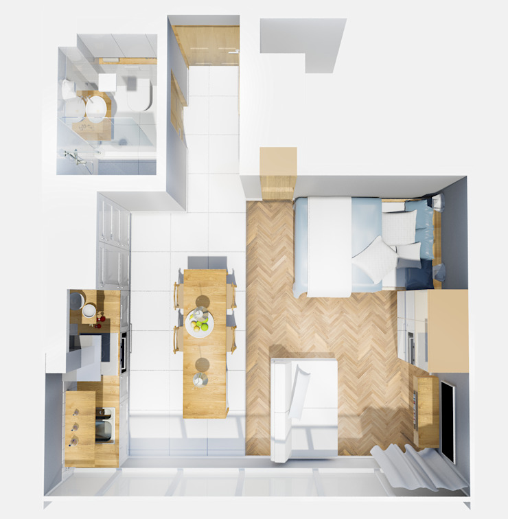 rzut z góry Skandynawski korytarz, przedpokój i schody od jw architektura Skandynawski
