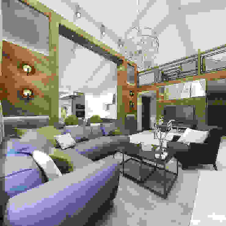 غرفة المعيشة تنفيذ decoroom , بلدي خشب Wood effect