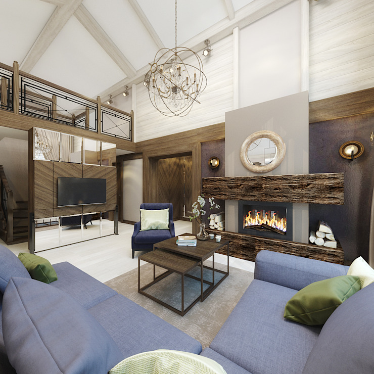 Rustic style living room by decoroom Rustic Wood Wood effect