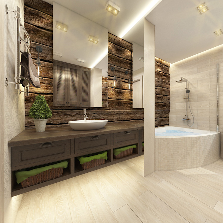 Casas de banho rústicas por decoroom Rústico Madeira Acabamento em madeira