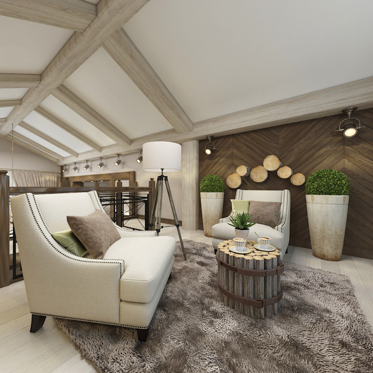 Rustic style study/office by decoroom Rustic Wood Wood effect