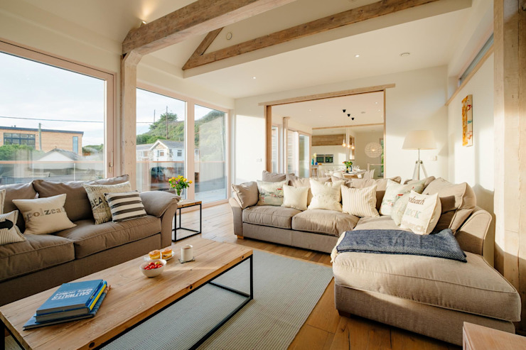 Treasure House, Polzeath | Cornwall 러스틱스타일 거실 by Perfect Stays 러스틱 (Rustic)