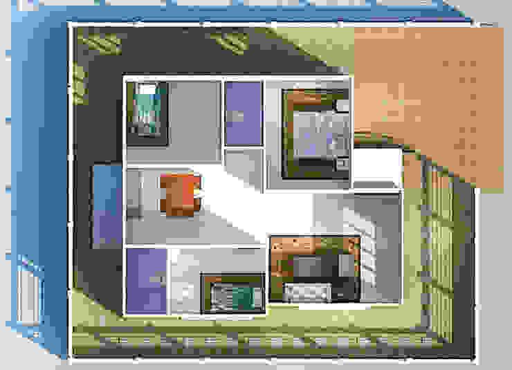 บ้านหลังคาปีกนก 3 ห้องนอน 2 ห้องน้ำ โดย Freelance Chanudom