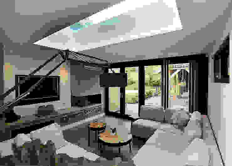 tuinkamer zijde aanbouw Moderne woonkamers van robin hurts architect Modern