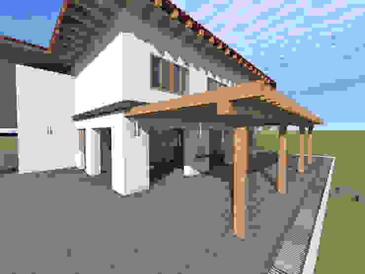 Vista fachada Casas rústicas de ROQA.7 ARQUITECTURA Y PAISAJE Rústico Piedra