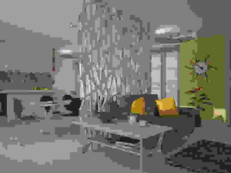 غرفة المعيشة تنفيذ Teresa Lamberti Architetto, إسكندينافي خشب Wood effect