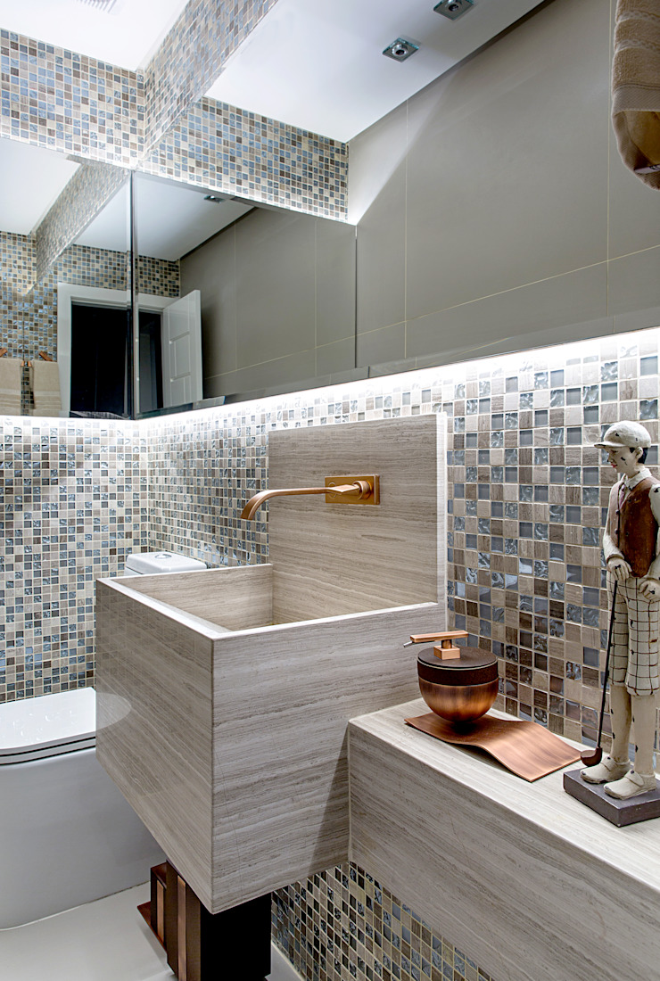 Eclectic style bathroom by Milla Holtz & Bruno Sgrillo Arquitetura Eclectic