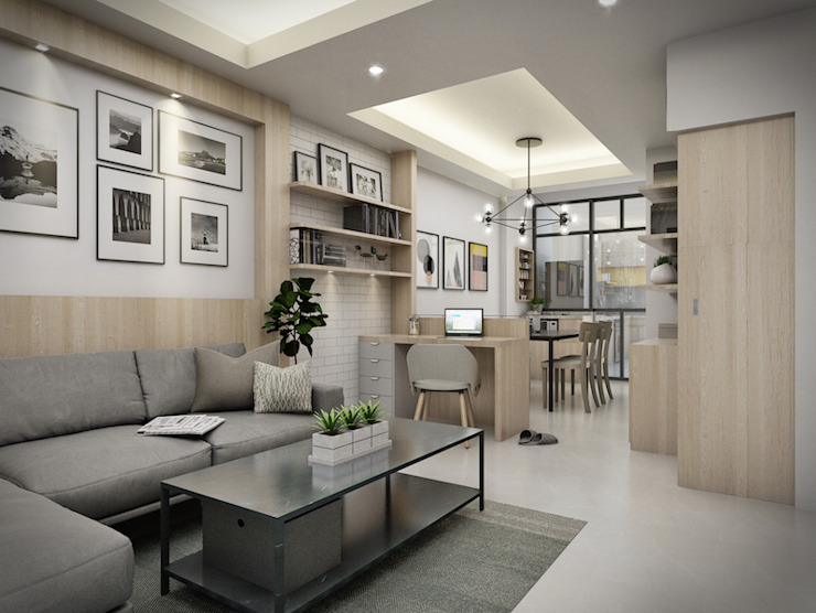 Town home renovation The guidelines design studio ห้องนั่งเล่น ไม้ Wood effect