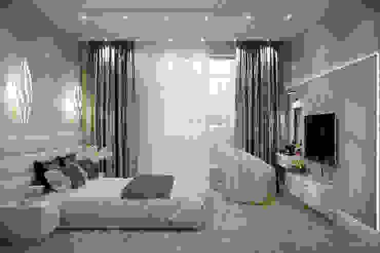 """Дизайн спальни в стиле модернизм в ЖК """"Каскад"""", г.Краснодар Спальня в средиземноморском стиле от Студия интерьерного дизайна happy.design Средиземноморский"""