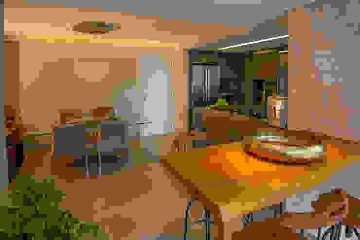 Espaços Integrados: Varanda Gourmet, Sala de Jantar e Cozinha Americana Salas de jantar ecléticas por Designare Ambientes Eclético